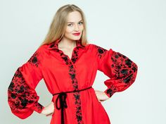 """Red emroidered dress """"Colour contrast"""" ukrainian hand embroidery"""