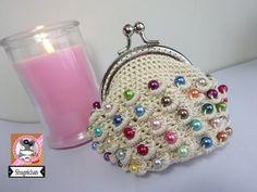 Monedero de perlas a crochet - YouTube