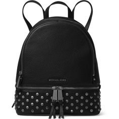 MICHAEL MICHAEL KORS Leather Stud Backpack (1.105 BRL) ❤ liked on Polyvore featuring bags, backpacks, day pack backpack, studded leather backpack, strap backpack, fringe bags and leather daypack