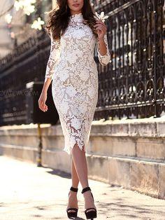 Vestido flores crochet encaje-Sheinside