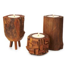 Teak Pillar Candles