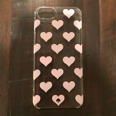 Kate Spade iPhone 5 cover So cute, but I upgraded to an iPhone 6 so I can't use this anymore! Clear with light pink hearts. Some scratches but you can't see them when the cover is on an iPhone. No box kate spade Accessories Phone Cases
