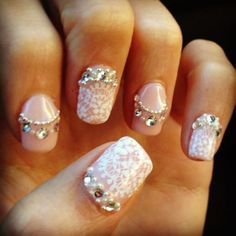 My Lace, Bling, and Pearl Wedding Nails! : wedding bling ivory japanese nail art lace nail art nails pink silver Source by Nail Art Designs, Lace Nail Design, Lace Nail Art, Lace Nails, Wedding Nails Design, White Nail Art, White Nails, Pink Nails, Nail Bling