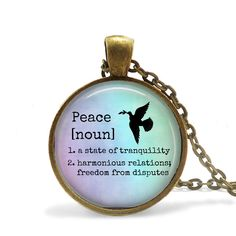 PEACE Defintion Pendant Necklace or Key Chain - Choice of 4 Colors - 1 Inch Round - Dove, Dictionary by Analiese on Etsy