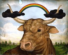 '' The weather bull '' by Jason Holley. Jason Holley is an artist, illustrator living in Los Angeles..This painting was done for the column 'Wilde File ' with strange questions in Outside Magazine.The question that generated this image went something like: Do the cows really predict the weather by pointig themselves in a particular direction?