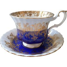 Royal Albert Regal Series Cobalt Blue Gold Cup Saucer Vintage Bone from mercymaude on Ruby Lane