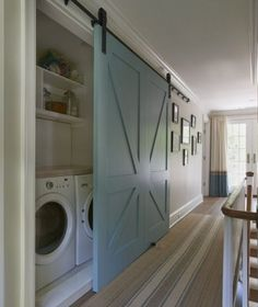 LOVE the laundry room sliding barn door idea if you have one off a hallway…