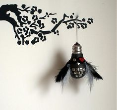 Rock Owl is made by recyclation of old lightbulb. It can be used as a decoration in your home.