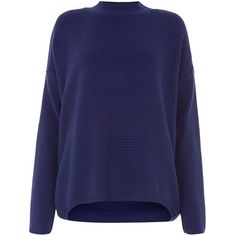 Navy Ottoman Knit High Neck Jumper (£20) ❤ liked on Polyvore featuring tops, sweaters, navy, long sleeve jumper, blue jumper, blue long sleeve top, navy blue jumper and navy top