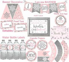 Winter ONEderland party decorations, Pink and Silver Party Decorations, Winter Birthday, Winter 1st birthday party package, Digital File.