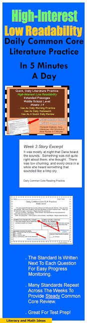 This document contains high interest stories and quick Daily Common Core practice.  They are perfectly designed to provide passages to meet the needs of struggling readers and still cover Common Core.  Characterization, figurative language, plot, and more skills are covered to keep reading skills sharp in 5 minutes a day.$