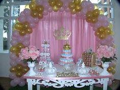 Resultado de imagem para decoracao princesa rosa e dourado