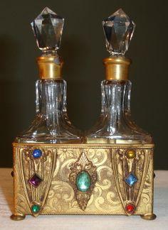VTG Dual Crystal Glass Perfume Bottle Jewels Ornate Apollo Good Stopper ART Deco | eBay