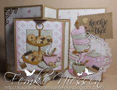 Made By Femke Niessen: Tea and cookies swing card.