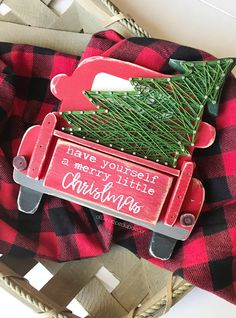 Christmas truck red truck sign christmas tree truck wooden