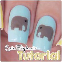 Cute elephant nails by @xnailsbymiri  Song: Shakira - Waka Waka
