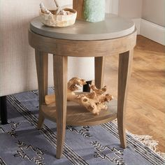 This solidly made accent table is a smart addition to rustic, industrial, and contemporary rooms. Beautiful birch wood finished in a Natural Brown glaze is paired with a solid concrete table top, giving this piece a bold and refined style. Round End Tables, Round Wood Coffee Table, Coffee Table Design, Side Tables, Coffee Tables, Side Table Decor, Table Decor Living Room, Living Rooms, Concrete Table Top