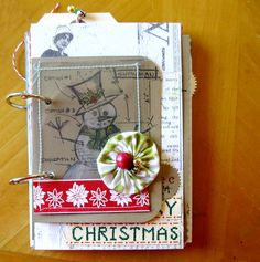 Merry Christmas Mixed Media Art Journal Kit by ColorHappyCreations (Mou Saha), #etsy 40.00
