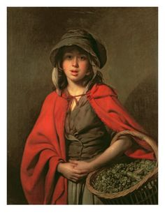 The Athenaeum - The Watercress Girl (Johann Zoffany - ) NOTE - the pins are horizontal in the bodice. short cloak with hood and ties, wide brim on the bonnet, shape of the basket. 18th Century Clothing, 18th Century Fashion, 19th Century, Camille Pissarro, Mary Cassatt, Vincent Van Gogh, 18th Century Costume, Girl Posters, Henri Matisse
