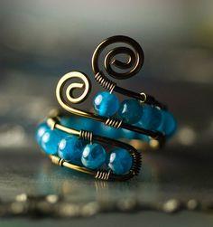 Gunmetal Copper Wirework Ring - Peacock Blue Apatite - Adjustable Caterpillar Design ~ mossandmist.etsy.com