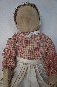 Big antique cloth doll with flax hair
