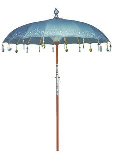 Indian style garden sun umbrella. The ash grey canopy is exquisitely hand-painted with a silver lotus flower and edged with hand-carved mother of pearl decorations. Inside a thick cotton weave covers the inner workings. The finial and wooden pole are hand-carved and decorated with silver paint. Diameter: 200cm