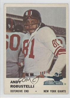 Andy Robustelli COMC REVIEWED Good to VG-EX New York Giants FB (Football Card) 1961 Fleer #75 by Fleer. $6.70. 1961 Fleer #75 - Andy Robustelli COMC REVIEWED Good to VG-EX