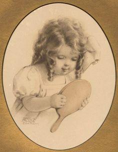 SEEING= Bessie Pease Gutmann Original Print  - 1909