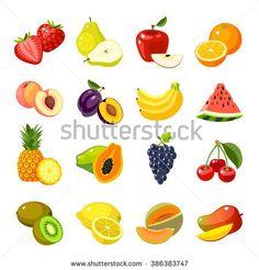 set of colorful cartoon fruit icons: apple pear strawberry orange peach plum banana watermelon pineapple papaya grapes cherry kiwi lemon mango. vector illustration isolated on white. New Fruit, Fruit Art, Fruit And Veg, Colorful Fruit, Fruit Cartoon, Cartoon Pics, Cartoon Drawings, Cartoon Ideas, Photo Fruit