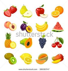 Set of colorful cartoon fruit icons. Fruits vector, fruits icon eps10, fruits icon picture, fruit icon cartoon, fruit web icon, fruit icon drawing, fruit icon jpg, fruit icon object Isolated on white. - stock vector