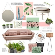 """""""Tropical Prints"""" by bklana ❤ liked on Polyvore featuring interior, interiors, interior design, home, home decor, interior decorating, Menu, Crate and Barrel, CB2 and Natures Collection"""