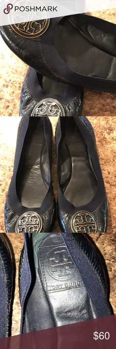 Tory Burch Caroline Ballerina Flats Beautiful Navy deep blue Tory Burch Caronline Ballerina Flats with Elastic Trim. These have been worn but still lots of life! Smoke free home! Size 6.5 Tory Burch Shoes Flats & Loafers