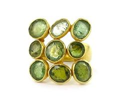 Pippa Small: Green Tourmaline on Yellow Gold Ring. Available at Octium