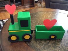 John Deere Tractor with Trailer Valentines Day Card box