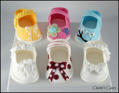 Gumpaste baby shoes - by Chantel's Cakery @ CakesDecor.com - cake decorating website