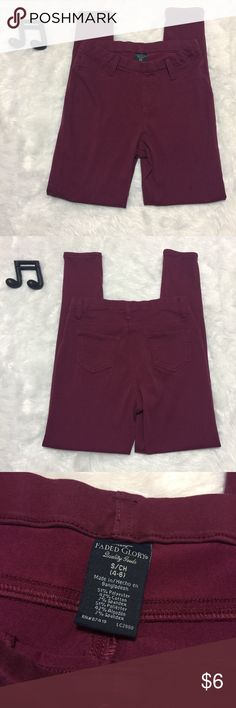 Wine Colored High Waisted Jeggings Cute wine colored Jeggings. Super stretchy with an elastic pull on waist. High waisted. Some pilling but not noticeable when worn. See measurements in photos for sizing questions.    🔽🔽🔽🔽🔽🔽🔽🔽🔽🔽🔽🔽🔽🔽🔽🔽🔽🔽🔽🔽  • Items $10 and under are firm unless bundled  • Sorry, no modeling & no trades  🔼🔼🔼🔼🔼🔼🔼🔼🔼🔼🔼🔼🔼🔼🔼🔼🔼🔼🔼🔼 Faded Glory Pants Skinny