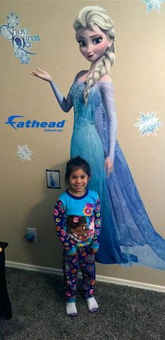Frozen Princess | Fathead's Elsa wall decal makes a great gift for young girls. The Snow Queen may cause screams of joy and excitement. Easily brighten up your kids room, nursery, and family with a fun DIY removable wall decal. SHOP http://www.fathead.com/disney/frozen/snow-queen-elsa-wall-decal/ Home Decor On A Budget | Disney DIY Girls Bedroom Decor | New Baby Ideas | Peel + Stick Wall Murals | Fathead Wall Decal