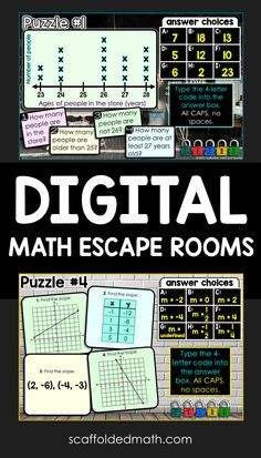 Digital math escape rooms make fun end of year math review activities for your middle and high school math classes. As they work through each math escape room, students must enter codes that will unlock each of 5 locks. Each digital escape room is one answer-validated Google Form, with no outside links. This way, the math escape rooms are super simple to assign and for students to understand. Browse over 50 digital math escape rooms here. Teaching 6th Grade, 7th Grade Math, Math Class, Teaching Math, Teaching Ideas, Middle School, High School, Algebra Activities, Algebra 2