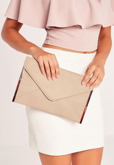 Nude Faux Suede Metal Edge Clutch Bag - Missguided