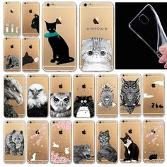 "Cover for iphone 6 4.7""  Cat Owl Rabbit Pattern Painted Style"