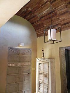 vaulted wood ceiling & unique door