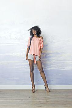 Bluza damska bluzka MUST HAVE peach, od projektanta RISK made in warsaw | Mustache.pl