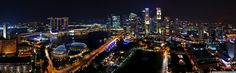 Singapore Night Panorama HD desktop wallpaper Fullscreen