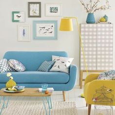 Image result for yellow teal living room