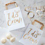 I Do Crew Hen Party Gift Bags The new 'I Do Crew' range is an gorgeous mix of ice white and luxe gold. Treat the hens to some gorgeous goodies in these eye catching gold 'I Do Crew' gift bags Each pack contains 5 party bags measuring (H), (W) and (D). Hen Do Party Bags, Hen Party Gifts, Party Gift Bags, Hen Party Favours, Party Crafts, Bridal Shower Favours, Bridal Shower Party, Bridal Showers, Party Wedding