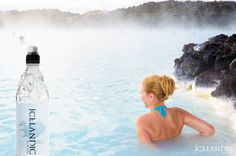 Relaxing in the Blue Lagoon in Iceland with an ice cold Icelandic Glacial