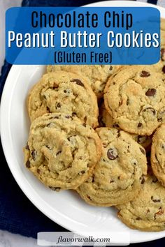 These are the best gluten free chocolate chip peanut butter cookies! They're crisp around the edges, but soft and tender in the middle. If you love the combination of chocolate and peanut butter, these gluten free cookies are for you. #glutenfreecookies #chocolatechipcookies #peanutbuttercookies #glutenfreerecipes Best Gluten Free Cookies, Gluten Free Peanut Butter Cookies, Gluten Free Cookie Recipes, Gluten Free Chocolate Chip Cookies, Peanut Butter Chips, Gluten Free Sweets, Free Recipes, Gf Recipes, Baking Recipes