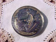 Aubergine Sage Whisper Tulip Czech Glass Button by vintagebeadnut, $9.00