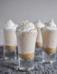 Think sweet potato pie, but cheesecake. We are starting to think it's totally normal to put potatoes inside desserts. Get these recipe of these no-bake sweet potato pie cheesecakes: Mini Desserts, Shot Glass Desserts, Just Desserts, Delicious Desserts, Yummy Food, Sweet Desserts, Desserts In Shot Glasses, Yummy Yummy, Sweet Potato Cheesecake