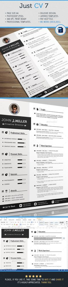 Just CV Template #design #print Download: http://graphicriver.net/item/just-cv-7/11968673?ref=ksioks